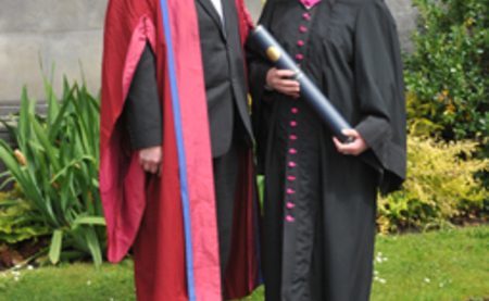 Professor Garry Taylor of the School of Biology and Christiane Nüsslein-Volhard, Doctor of Science honoris causa, at the formal ceremony in St Andrews. Copyright: University of St Andrews