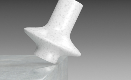 A vase set at its critical angle where it is equally likely to right itself or fall off of the table.
