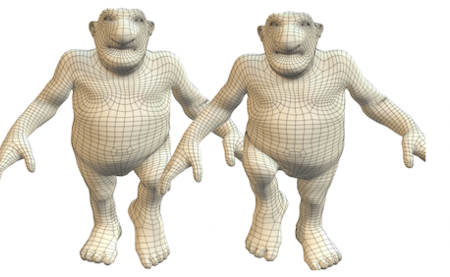 The soft tissue deformations of the man and woman are modeled and transferred to the cartoon characters giving them natural looking deformations as they move.