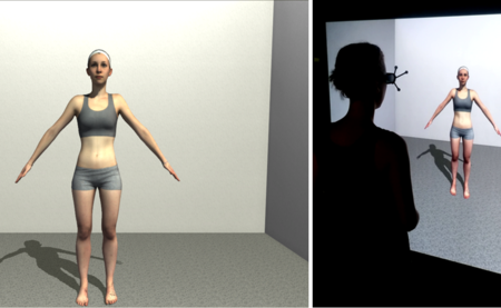 Left: Screenshot of the virtual scene viewed by the participant; Middle: participant views personalized avatar on large-screen immersive stereo display, mimicking a scenario as if standing in front of a full-length mirror (right). Copyright: Anne Thaler @ Max Planck Institute for Biological Cybernetics