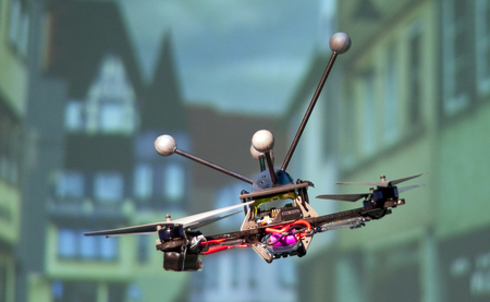 The Quadcopter is a small, approximately 16 inches in diameter, unmanned aerial vehicles (UVA's), navigated by a human operator. Picture: Martin Breidt / Max Planck Institute fpr Biological Cybernetics.